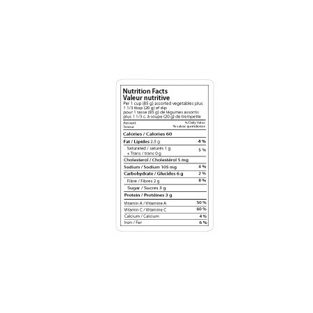 Étiquette Valeurs Nutritives